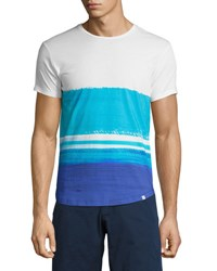 Orlebar Brown Ob T Mcgovern Wave Print Tailored Fit Crewneck T Shirt White Blue White Pattern