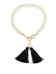 Kate Spade Grand Bazaar Faux Pearl Tassel Necklace Black Pearl