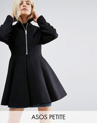 Asos Petite Swing Coat With Full Skirt And Belt Black