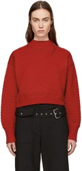 3.1 Phillip Lim Red Faux Plait Silk Cocoon Sweater