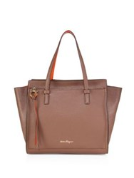 Salvatore Ferragamo Amy Large Two Tone Leather Tote Mocha