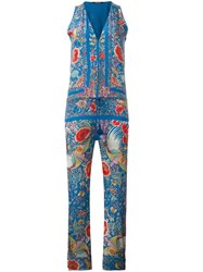 Roberto Cavalli Floral Embroidery Jumpsuit Blue