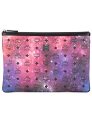 Mcm Galaxy And Logo Print Clutch Multicolour