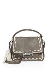 Tod's Stitch Detailed Double T Leather Messenger Bag Grey