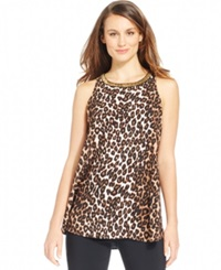 Alfani Animal Print Beaded Halter Top Swift Leopard