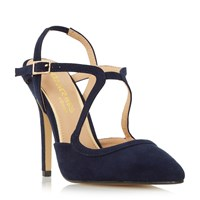 Head Over Heels Caira Assymetric Strappy Pointed Courts Blue