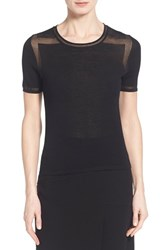 Women's Elie Tahari 'Ellison' Sheer Inset Short Sleeve Sweater Black