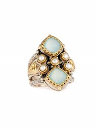 Konstantino Amphitrite Cushion Agate And Pearl Statement Ring Blue