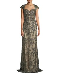 La Femme Beaded Lace Gown W Cap Sleeves Olive