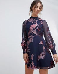 Hope And Ivy Long Sleeve Velvet Devore Open Back Mini Dress In Bird Print Navy Print