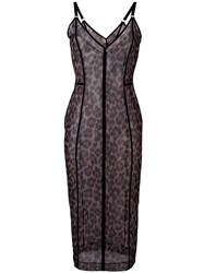Christopher Kane Leopard Print Dress Women Nylon Spandex Elastane M Black