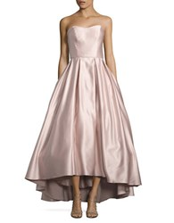 Betsy And Adam Strapless Satin Gown Beige