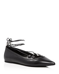 Michael Michael Kors Tabby Lace Up Pointed Toe Ballet Flats Black