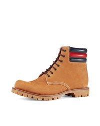 Gucci Marland Suede Hiking Boot W Web Detail Light Brown