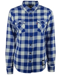 Levi's Women's New York Giants Plaid Button Up Shirt Blue White