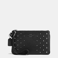 Coach Small Wristlet In Polished Pebble Leather With Ombre Rivets Dark Gunmetal Black