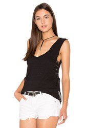 Pam And Gela Side Lace Up V Neck Tank Black