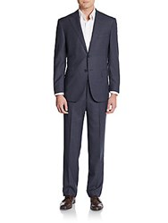 Corneliani Regular Fit Pinstripe Wool Suit Medium Blue