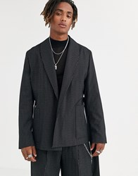 Heart And Dagger Jacket In Pinstripe Black