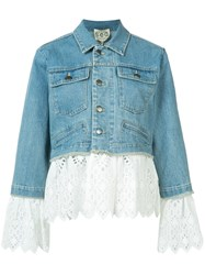 Sea Eyelet Layered Denim Jacket Blue