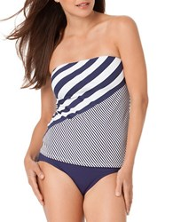 Anne Cole Rugby Stripe Bandeau Tankini Top Navy Blue