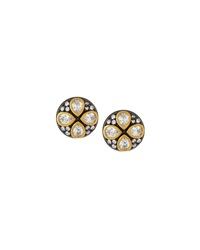 Freida Rothman Belargo Round Four Leaf Stud Earrings Black