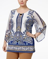 Jm Collection Plus Size Hardware Peasant Blouse Only At Macy's Monarch Paisley