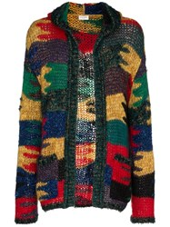 Saint Laurent Lurex Knitted Wool Mohair Blend Hooded Cardigan Multicolour