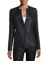 Lafayette 148 New York Lynn Blazer Jacket W Inverted Lapels Women's Black