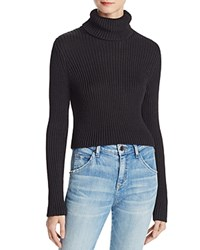 Alice Olivia Sierra Cropped Turtleneck Sweater Black