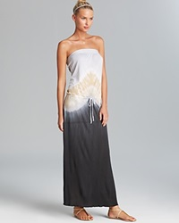 Debbie Katz Appolonia Tie Dye Jersey Maxi Swim Cover Up Dress Slate Black