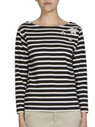 Saint Laurent Striped Star Tee Black Natural