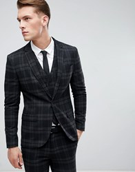 Only And Sons Skinny Suit Jacket In Check Black