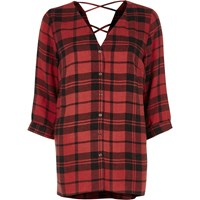 River Island Red Check Cross Back Shirt