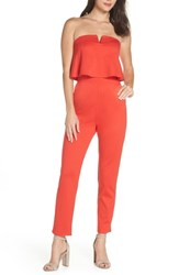 Fraiche By J Strapless Jumpsuit Red