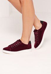 Missguided Red Velvet Glitter Tab High Top Trainers Berry