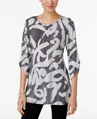 Alfani Printed Tunic Top Only At Macy's Striped Grafitti Black White