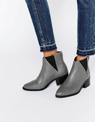 Pieces Drina Grey Leather Chelsea Boots Castlerock Leather
