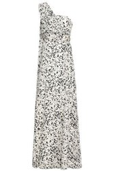 Mikael Aghal Woman One Shoulder Belted Printed Silk Maxi Dress White