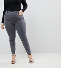 Asos Curve Ridley High Waist Skinny Jeans In Stacey Grey Stacey Grey
