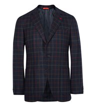 Isaia Blue Slim Fit Checked Wool And Cashmere Blend Blazer Midnight Blue