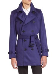 Burberry Kensington Blue Cashmere Trench Coat