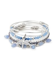 Alex And Ani Five Piece Dragonfly Swarovski Crystal Bracelet Set Silver