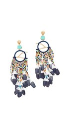 Tory Burch Dreamcatcher Statement Earrings Multi Vintage Gold