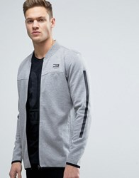 Jack And Jones Tech Longline Bomber Jacket In Jersey Grey Melange