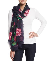 Begonia Floral Voile Scarf Indigo Michael Kors Collection