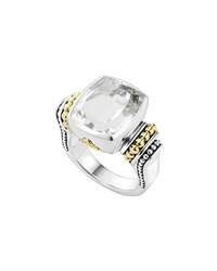 Lagos 14Mm Glacier Faceted Caviar Ring White Topaz