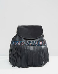 Glamorous Backpack With Tapestry And Fringe Detail Black