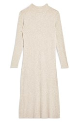 Topshop Rib Knit Midi Dress Cream