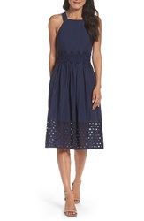 Vince Camuto Women's Fit And Flare Midi Dress Navy